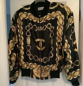 VTG 80s Chanel Chain Bomber Jacket Silk Logo Black and Gold size L 90s