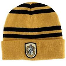 Harry Potter Hufflepuff Logo Stripes Knit Beanie Hat Cap Deathly Hallows Costume