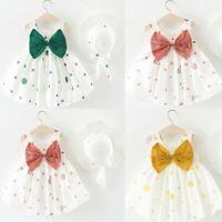 Infant Baby Girl Kid Summer Sleeveless O-neck Dot Print Bow Princess Party Dress