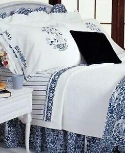 *PAIR RALPH Lauren STANDARD Porcelain Pillowcases Blue White Flowers Tamarind