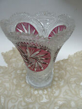 CZECH Crystal Vase Böhmen cut to clear white /Ruby red panel with handcut stars