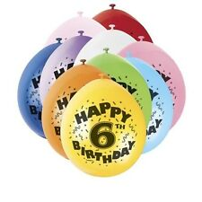 Pack of 10 Happy 6th Birthday Party Balloons Mixed Colours Air Fill Only