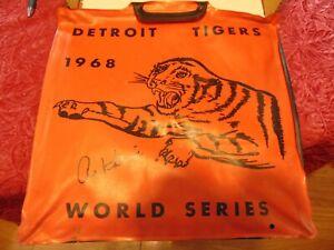 Al Kaline Autographed 1968 Detroit Tiger World Series Orange Seat Cushion