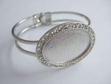 Silver Tone Cuff Bangle Bracelet Blanks Base 25x35mm Oval Cabochon Cameo Setting