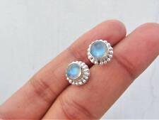 925 Sterling Silver Rainbow Moonstone stud earrings, Stud Earring 10mm