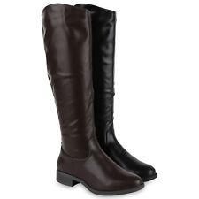 Damen Reiterstiefel Basic Leder-Optik Stiefel Blockabsatz 819541 Schuhe