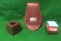 SNOOKER MAGNETIC BROWN CHALK HOLDER & 2 MASTER BILLIARDS CHALK.FREE DELIVERY