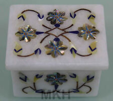 Trinket Box White Marble Inlay Handmade Floral Art Design Italian Mosaic