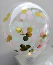 1 CLEAR 12INCH/30CM LT PINK/MINT/GOLD CONFETTI BALLOON. BABY EVENTS WEDDINGS