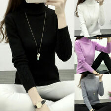 Womens Turtleneck Winter Sweater Long Sleeve Knitted Sweater Pullover Jumper Top