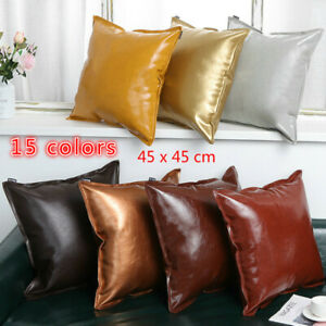 Modern Throw Pillow Cover Cushion Case Faux Leather Solid for Couch Sofa Bed