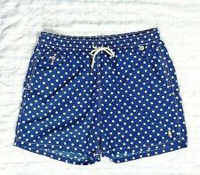 Polo Ralph Lauren Mens Size XXL 2XL Swim Trunks, Blue w/ White Dots + Polo logo
