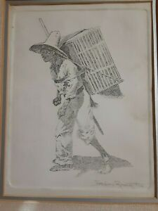 Rare!! 1890 Original Frederic Remington Engraving Hand Signed In Pencil Framed