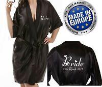 Personalised Wedding Robe Wrap Gown Wedding Bride BLACK Satin Bridal Gift Bag op