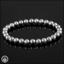 IRON NICKEL METEORITE 6mm Round Beaded Bracelet 18K White Gold Plated B001