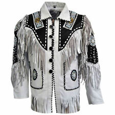 Men Native American Indian Leather Jacket Beading & Fringe Work