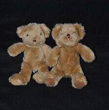 Lot 2 Peluche Doudou Ours The Teddy Bear Collection Brun Marron 21 Cm Etat NEUF