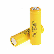 Hot Sale 2Pcs AA 2A 1.2 V 2200mAh Ni-CD rechargeable battery Yellow Color