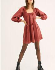 Free People Womens Lou Babydoll Denim Dress Rust Brown XS
