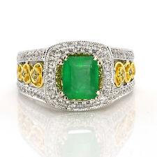 Real 1.79ct Natural Green Emerald Engagement Ring Emerald Cut 18K Gold G VS2