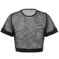 Womens Sexy Fishnet See-Through Cocktail Parties Crop Tops  Summer Casual Tee