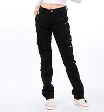 Womens Loose Military trousers Ladies straight Multi-pocket baggy cargo pants