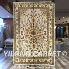Yilong 4'x6' Handmade Carpet Floral Hand Knotted All Over Silk Area Rug W236C