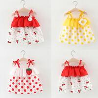 Toddler Baby Kids Girls Dot Ruffles Strap Print Dress Princess Dresses Clothes