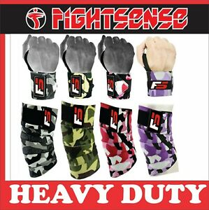 FS Heavy Duty Weight Lifting Knee Wraps, Wrist Support Pair Set Camouflage Color