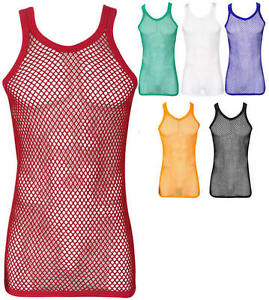 FREE UK 1st Class P/P - FITTED 100% Cotton String Fishnet Mesh Muscle Vest Top