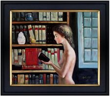 Framed Quality Hand Painted Oil Painting Nude Young Lady Reading 20x24in