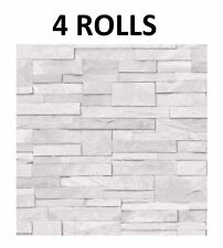 Light Grey White Brick Wall Wallpaper Stone Brick Effect Washable Vinyl x 4