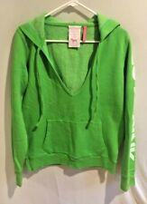 Victoria's Secret PINK Green Spell Out V Neck Hooded Sweatshirt Size Medium