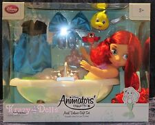 "Disney Animators' Collection 16"" Toddler Doll Ariel Bath Tub Deluxe Set!"