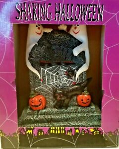 Shaking Halloween Tomb Stone, Ghost, Black Cat and Pumpkins
