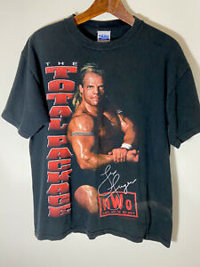 """Vintage """"Total Package"""" Lex Luger 1998 WCW nWo Wolfpack T-Shirt Large"""