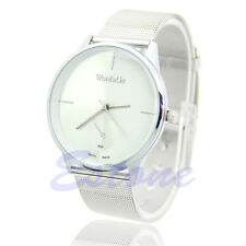 New Fashion Classic Women's Men Quartz Analog Stainless Steel Silver Wrist Watch