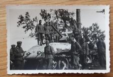 Altes Foto Beutepanzer / Beute Panuer mit weißem Kreuz / Balkenkreuz 2.WK