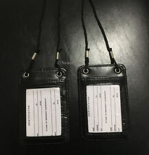 2PK Double Sides Black Leather ID Badge Card Holder Neck Strap Travel Work Pouch