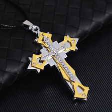 Fashion Men Gold Stainless Steel Cross Charm Pendant Necklace Chain Jewelry Gift