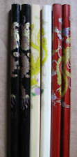 "3 Pr DRAGON 9.5"" HAIR STICKS Chopsticks Black Red Natural wood"