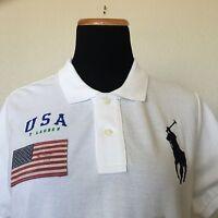 Women's RALPH LAUREN White Big Pony USA Flag Short Sleeve Skinny Polo Shirt L