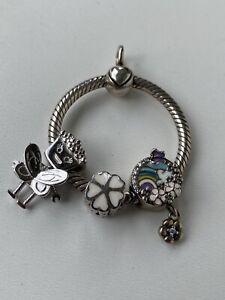 Sterling Silver Pendant Charms Flower Arcobaleno Fiori Robot Argento (Pandora?)