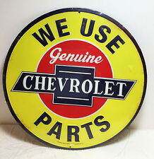 CHEVROLET  WE USE GENUINE PARTS METAL EMBOSSED RAISED LETTER SIGN