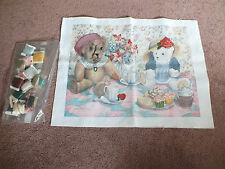 Partial Printed Cross Stitch Partial Kit with Print & Thread Bears Having Tea