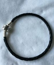 Pandora black leather bracelet 18cm long