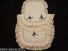 Beautiful  Pram Quilt  and  Pillow  Set  suitable for MOST PRAMS CREAM / BLACK