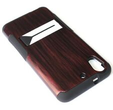 For HTC Desire 626 626S - HARD & SOFT RUBBER HYBRID CASE COVER MERLOT BROWN WOOD