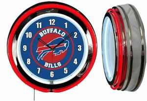 """Buffalo Bills 19"""" RED Neon Clock Man Cave Game Room Football White Numbers"""