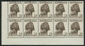 1957 (SG.253) No wmk 2/6 black-brown, No Imprint lower left cnr block (10) MUH